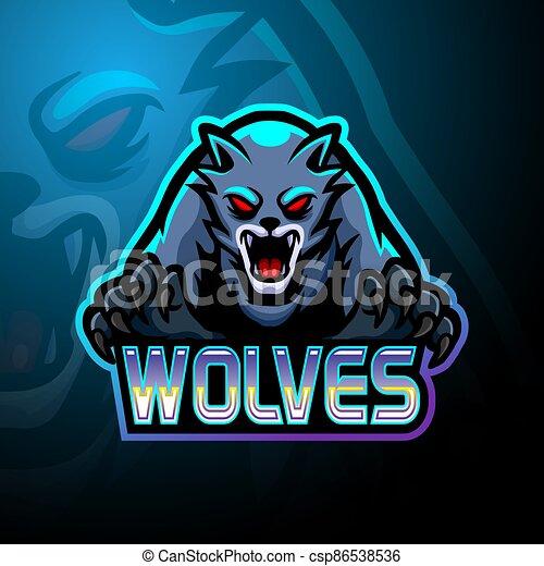 logo, projektować, esport, wolves, maskotka - csp86538536