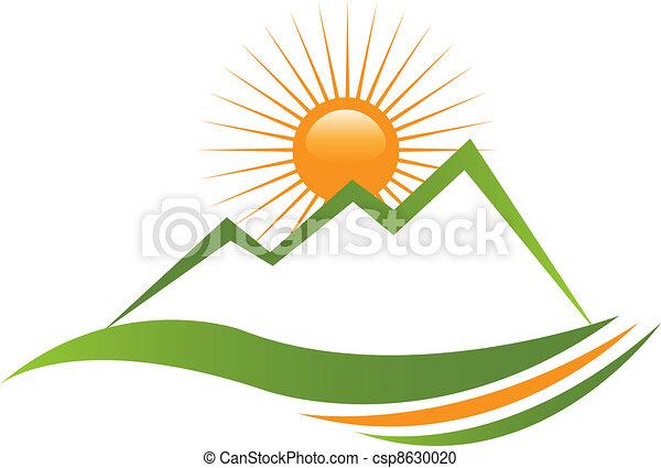 logo, słoneczny, góra - csp8630020