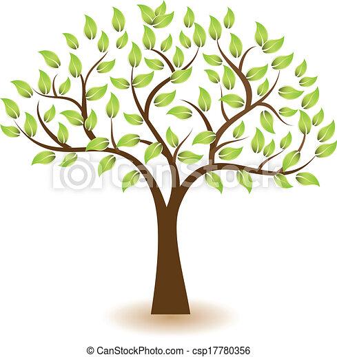 logo, symbol, wektor, drzewo - csp17780356