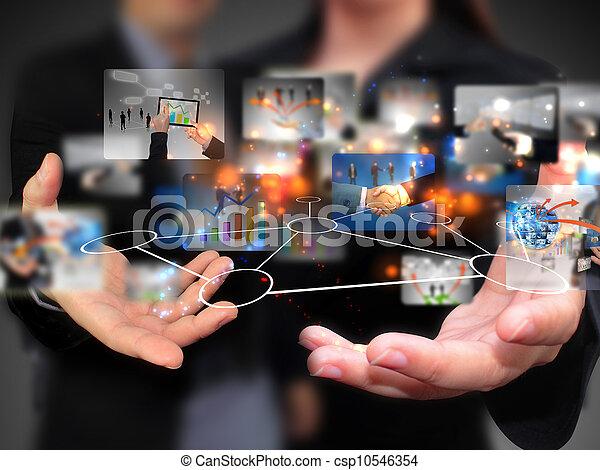 ludzie, dzierżawa, media, towarzyski, handlowy - csp10546354