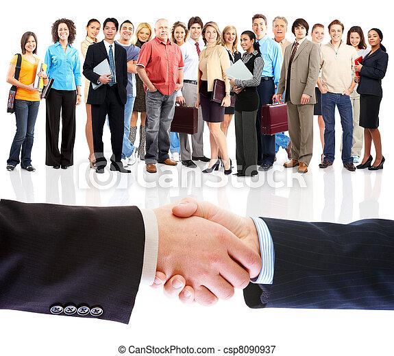 ludzie, handshake., handlowy, meeting. - csp8090937