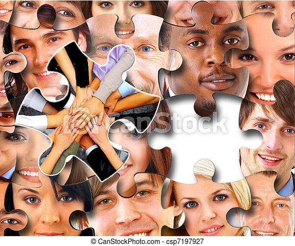 ludzie, kawałki, handlowy, zagadka, grupa - csp7197927