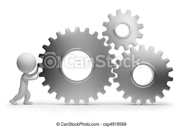 ludzie, -, mechanizmy, mały, wały, 3d - csp4918569