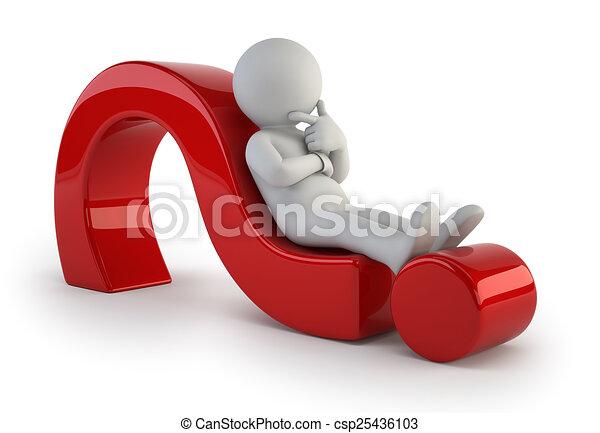 ludzie, pytanie, -, marka, mały, leżący, 3d - csp25436103