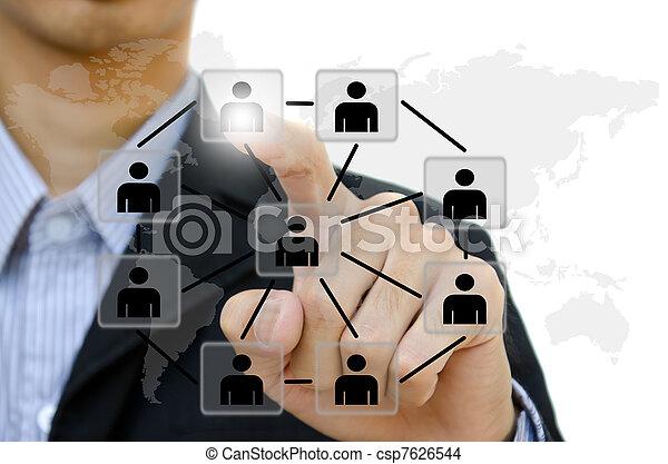 ludzie, rzutki, towarzyski, sieć, komunikacja, handlowy, whiteboard., młody - csp7626544