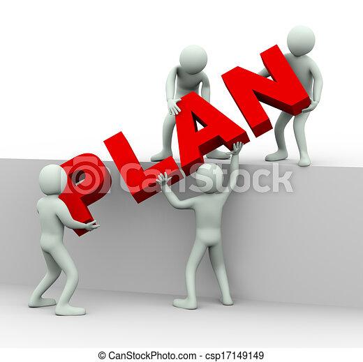 ludzie, słowo, pracujący razem, plan, 3d, miejsce - csp17149149