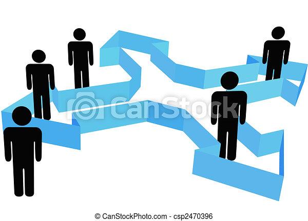 ludzie, symbol, kropka, strzały, organizacja, kierunki, nowy - csp2470396