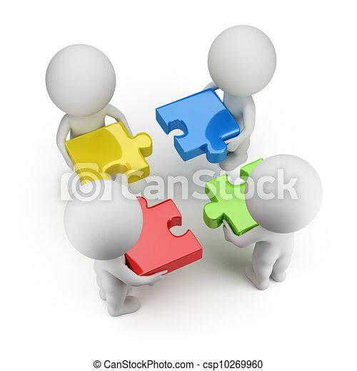 ludzie, -, zagadki, drużyna, mały, 3d - csp10269960
