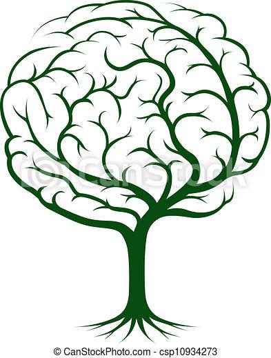 mózg, drzewo, ilustracja - csp10934273