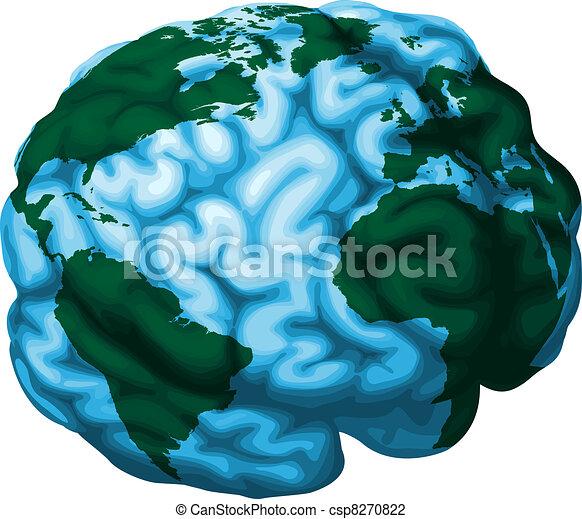 mózg, kula, ilustracja, świat - csp8270822