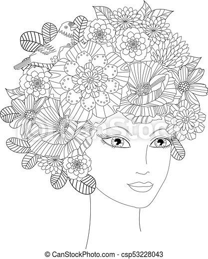 młody, twój, kolorowanie, kwiaty, piękna kobieta, książka - csp53228043