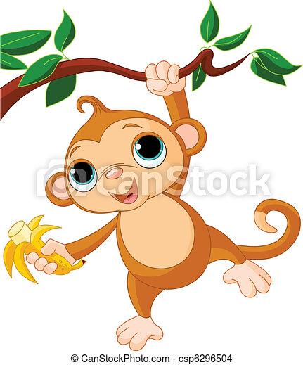 małpa, niemowlę, drzewo - csp6296504