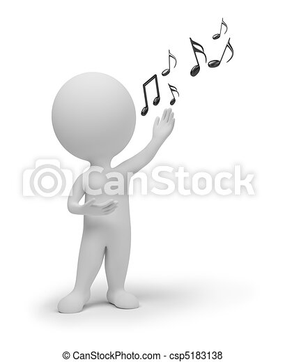 mały, śpiewak, 3d, -, ludzie - csp5183138