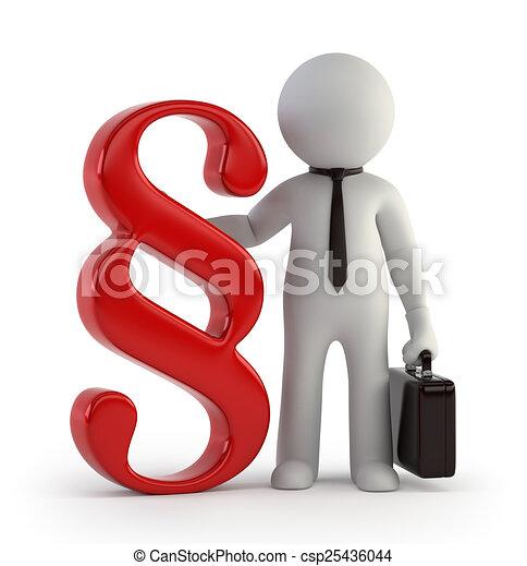 mały, 3d, -, prawnik, ludzie - csp25436044