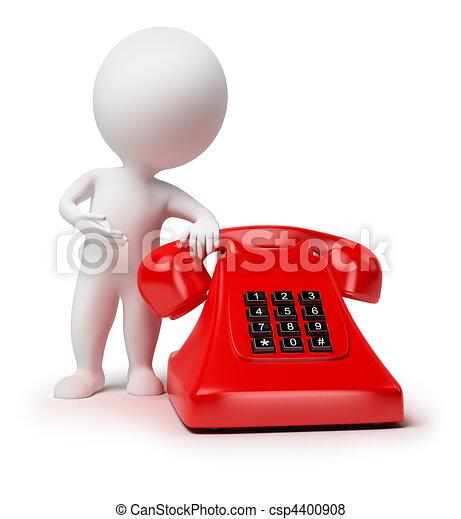 mały, 3d, -, telefon, ludzie - csp4400908