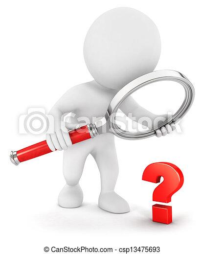 mały, biały, 3d, pytanie, ludzie - csp13475693
