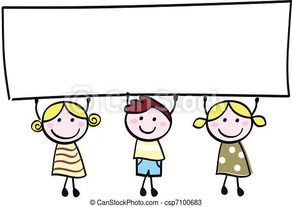 mały, dzierżawa, chorągiew, szczęśliwy, opróżniać, sprytny, -, chłopiec, dziewczyny, czysty, rysunek, illustration. - csp7100683