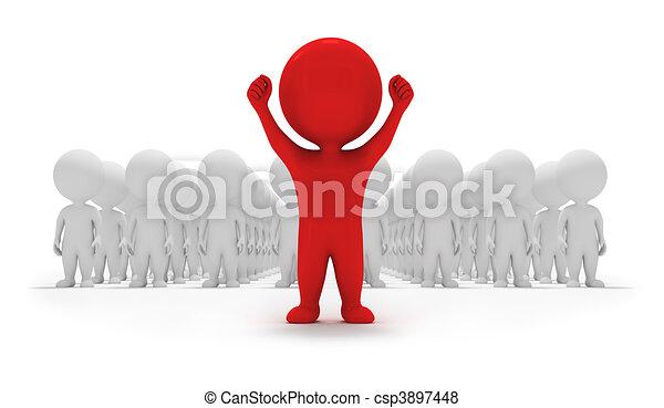 mały, zgłasza się na ochotnika, -, 3d, ludzie - csp3897448