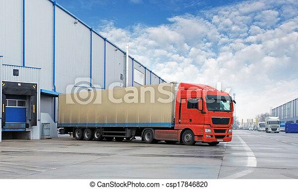 magazyn, ładunek, -, przewóz, wózek - csp17846820