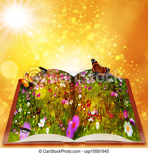 magia, piękno, abstrakcyjny, tła, book., kaprys, bokeh, baśnie - csp10581645