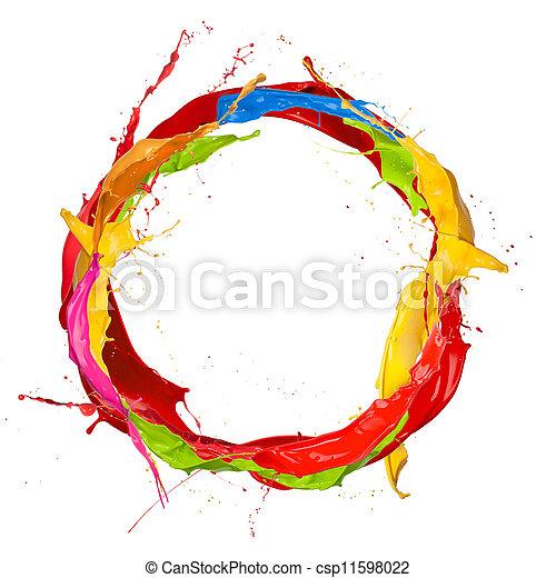 malatura, barwny, koło, plamy, tło, odizolowany, biały - csp11598022