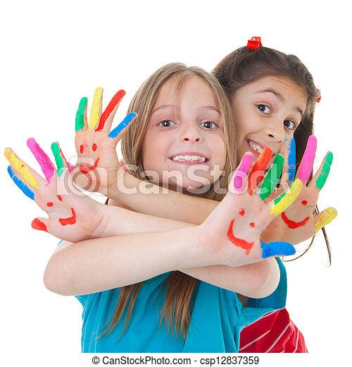 malować, grający dziećmi - csp12837359
