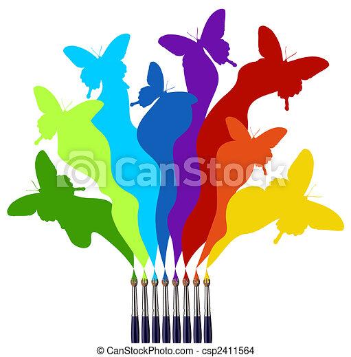 malować, tęcza, motyle, barwny, szczotki - csp2411564