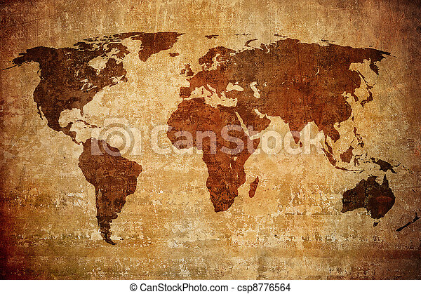 mapa, grunge, świat - csp8776564