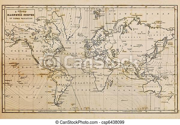 mapa, stary, rocznik wina, ręka, świat, pociągnięty - csp6438099