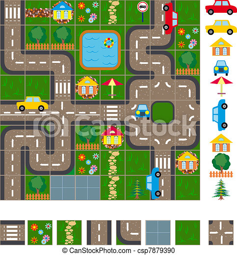 mapa, układ, ulice - csp7879390