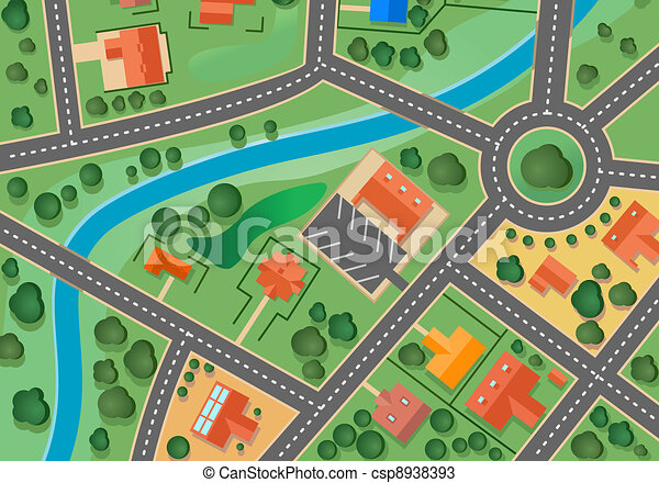 mapa, wieś, przedmieście - csp8938393