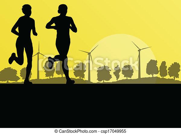 maraton, natura, okolica, ilustracja, wektor, generatory, las, tło, dziki, wiatr, biegacze, krajobraz, kobiety - csp17049955
