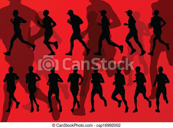 maraton, wektor, biegacze, tło - csp16992002
