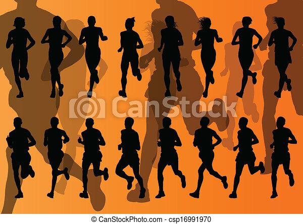 maraton, wektor, biegacze, tło - csp16991970