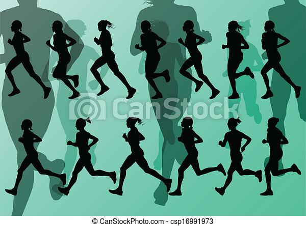 maraton, wektor, biegacze, tło - csp16991973