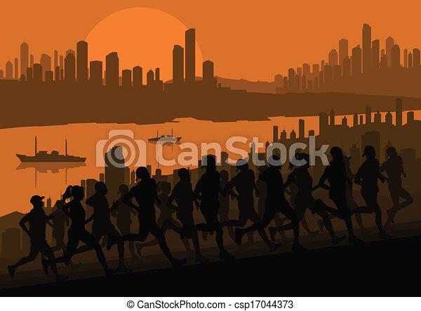 maraton, wektor, biegacze, tło - csp17044373