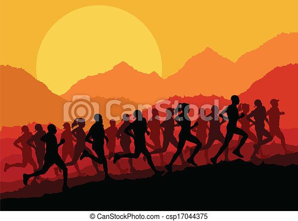 maraton, wektor, biegacze, tło - csp17044375