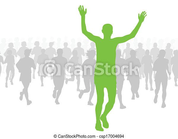 maraton, wektor, biegacze, tło - csp17004694