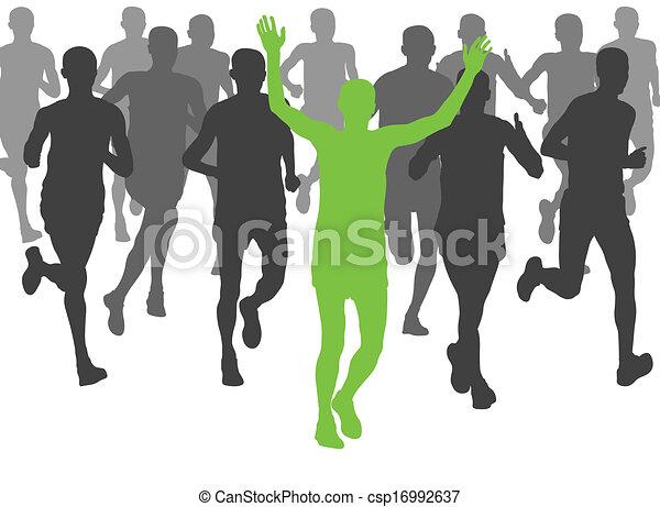 maraton, wektor, biegacze, tło - csp16992637