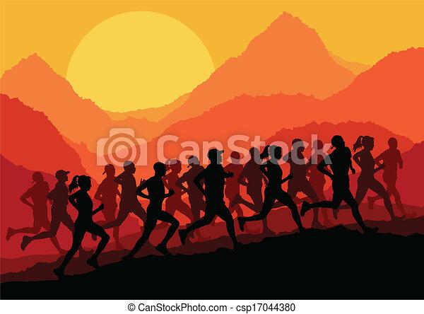 maraton, wektor, biegacze, tło - csp17044380