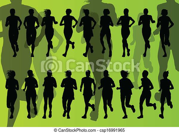 maraton, wektor, biegacze, tło - csp16991965