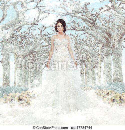 matrimony., fantasy., zima, mrożony, na, drzewa, panna młoda, biały strój, płatki śniegu - csp17784744