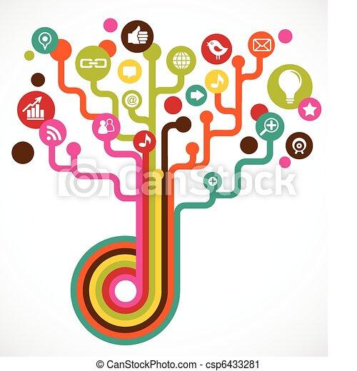 media, towarzyski, drzewo, sieć, ikony - csp6433281