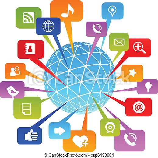 media, towarzyski, sieć, świat, ikony - csp6433664