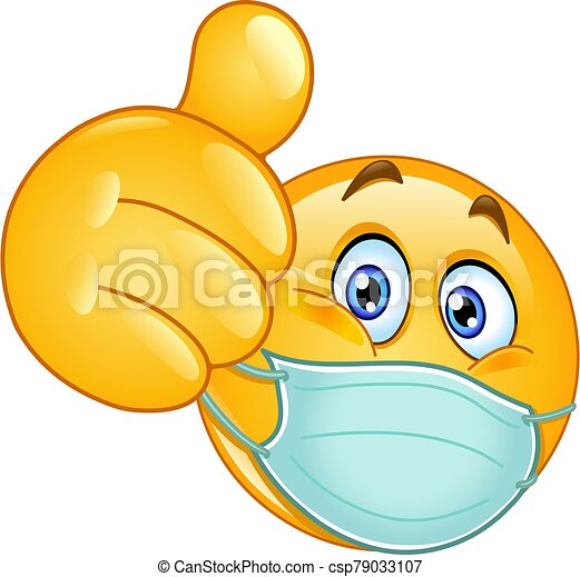 medyczny, kciuk do góry, maska, emoticon - csp79033107