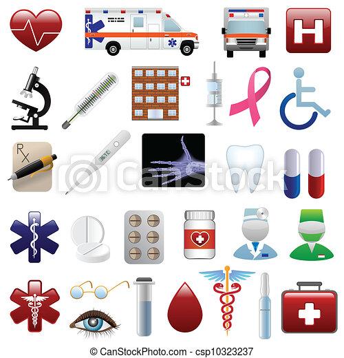 medyczny, komplet, szpital, ikony - csp10323237
