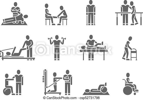 medyczny, sylwetka, wektor, ludzie, czarnoskóry, fizykoterapia, ikony, traktowanie, rehabilitacja - csp52731798