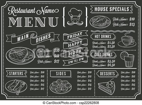 menu, chalkboard, szablon, restauracja - csp22262808