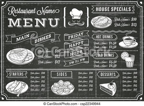 menu, chalkboard, szablon, restauracja - csp22349944