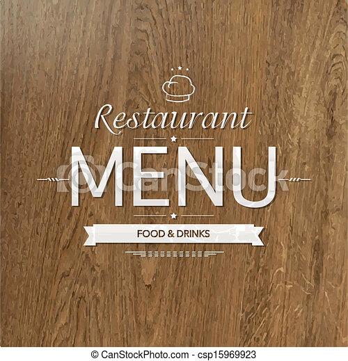 menu, drewno, projektować, retro, restauracja - csp15969923